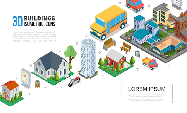 Isometric cityscape elements collection with city buildings skyscraper suburban houses vehicles trash trees benches  illustration