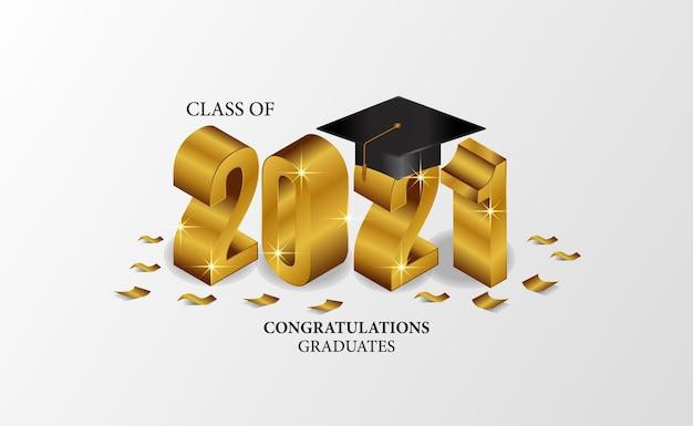 Изометрический класс выпускной церемонии с изометрическим номером и кепкой, шляпой и золотым конфетти с белым фоном