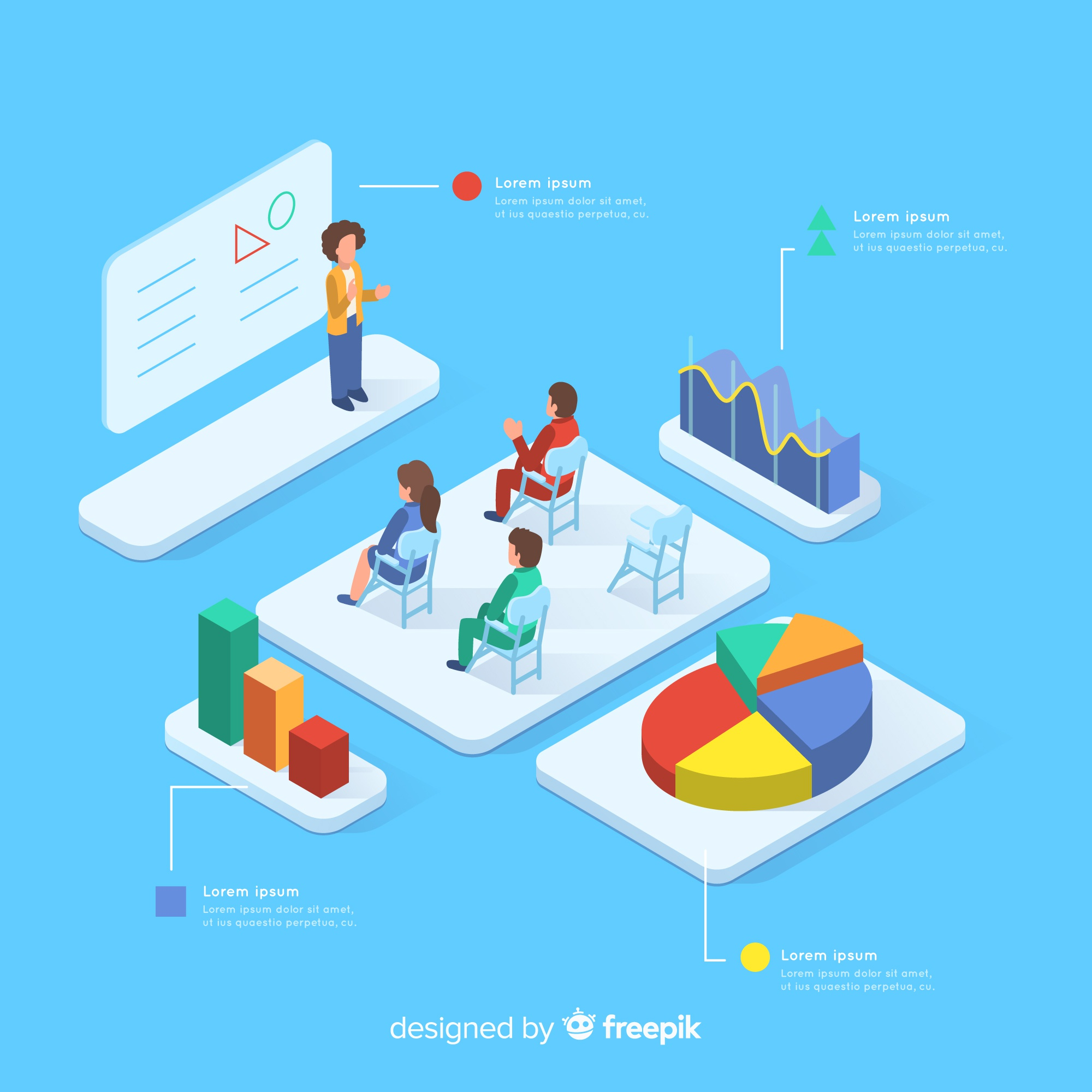 Isometric class with infographic elements