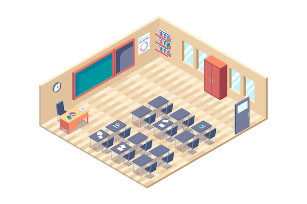 Изометрическая концепция классной комнаты