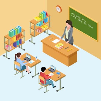 Isometric classroom with teacher and kids