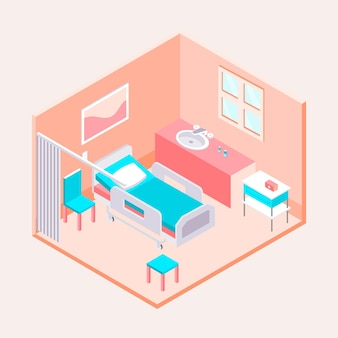 Isometric clean hospital room illustrated