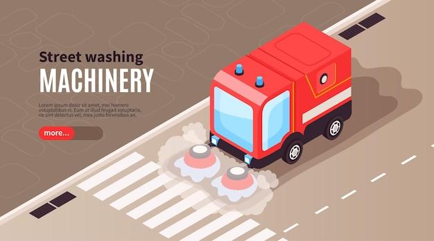 Insegna orizzontale della strada di pulizia isometrica con superficie asfaltata di pulizia stradale e veicolo