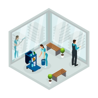 Isometric cleaning service concept