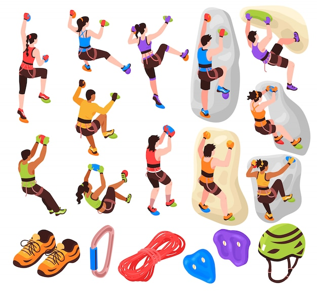 Isometric climbing icons set