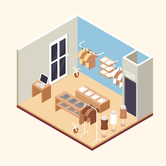 Isometric clothing store concept