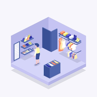 Isometric clothing store