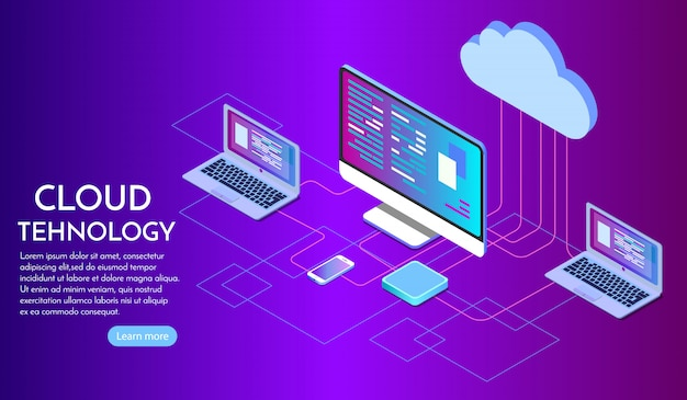 Isometric cloud computing services landing page