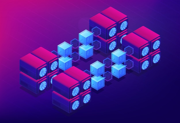 Isometric cloud mining landing page concept.