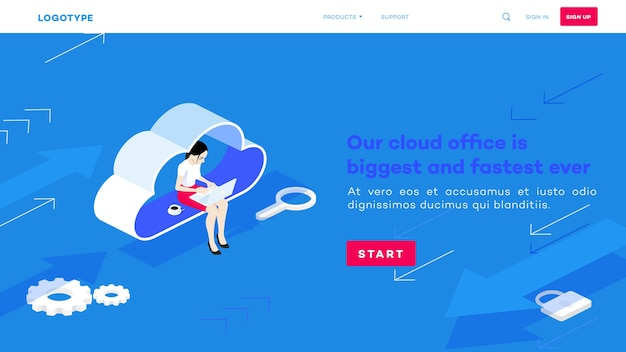 아이소 메트릭 클라우드 사무실. 노트북을 가진 여자는 구름에 앉아. 웹 호스팅 작업 과정.