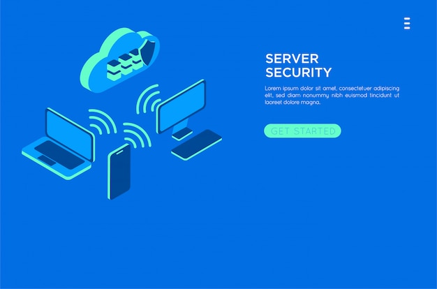 Isometric cloud server illustration