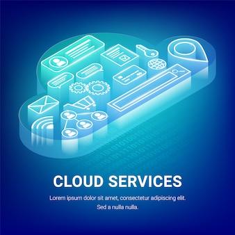 아이소 메트릭 클라우드 서비스 개념 내부 아이콘으로 빛나는 구름. 웹 디자인, 마케팅, 배너 및 그래픽 디자인을위한 인터넷 기술 일러스트 레이션