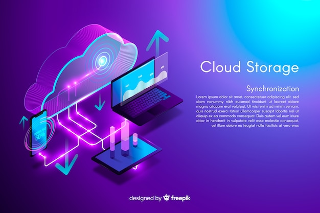 Isometric cloud storage background