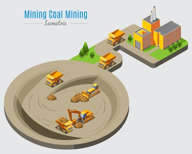 Concetto isometrico di estrazione del carbone