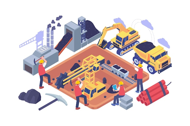 Isometric coal mining industry concept