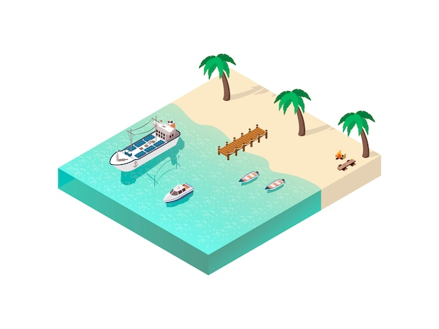 Isometric coastal line composition