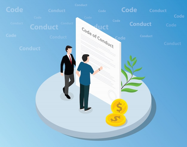 Isometric code of conduct concept with business man standing