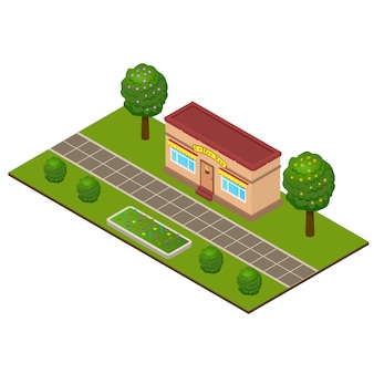 Isometric coffee bar building at city park