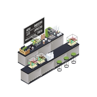 Isometric coffee bar composition