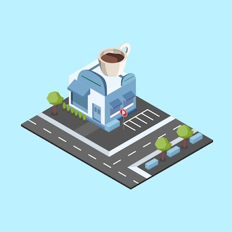 Isometric coffee bar