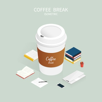 Isometric coffee break,cup of coffee cafe vector