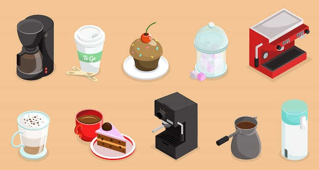 Isometric coffee elements set with cake cupcake coffee makers turk and cups of hot drinks isolated