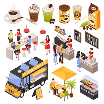 Isometric coffee house barista set with isolated human characters bar counter with seats menu and cups