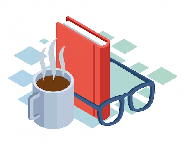 Isometric  of coffee mug, glasses and book over white background