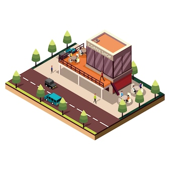 Isometric coffee shop building on white
