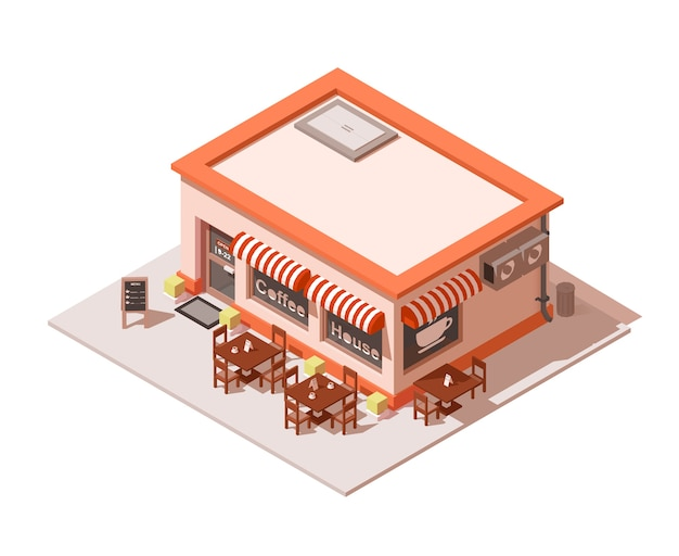 Isometric coffee shop or coffeehouse building exterior.