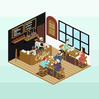 Isometric coffee shop scenery