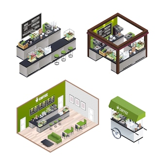 Isometric coffee shops set