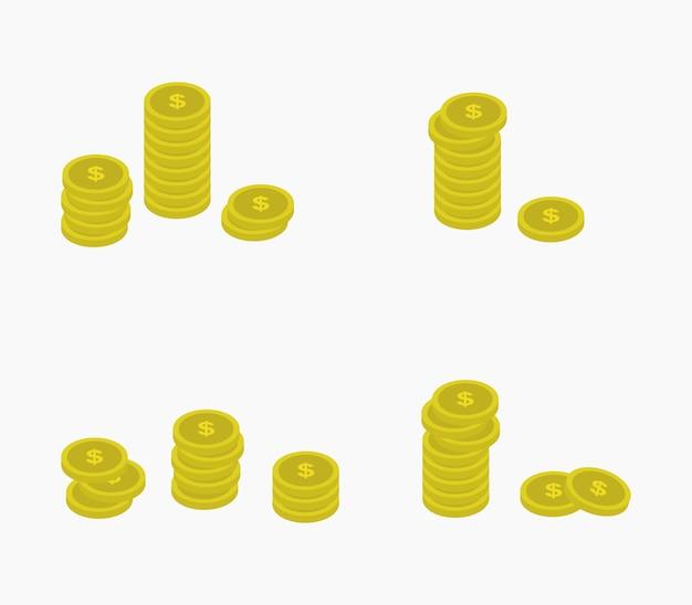 Isometric coin money set