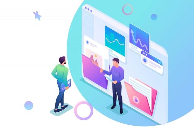 レポートのデータを収集して送信する等尺性の若い起業家は、画面上でデータについて話し合います。