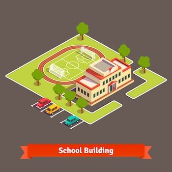 Isometric college campus or school building
