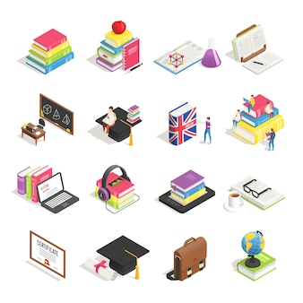 Isometric college education accesories set