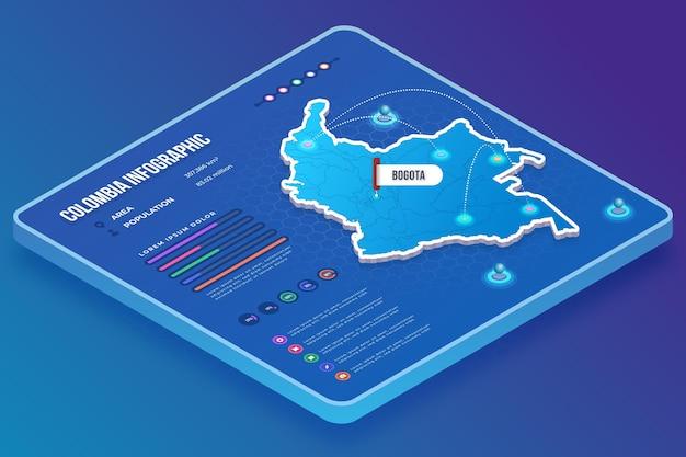 Изометрические колумбия карта инфографики