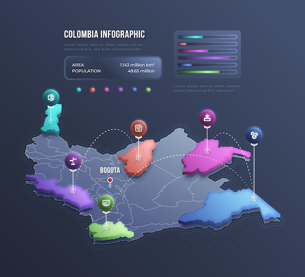 Isometric colombia map infographic