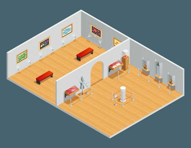 Isometric color illustration of museum interior with exhibit and painting