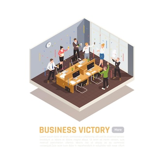 Isometric colored  banner winner concept  with business victory headline and isolated meeting room