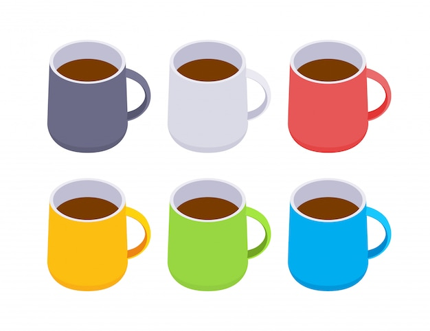 Isometric colored coffee mugs
