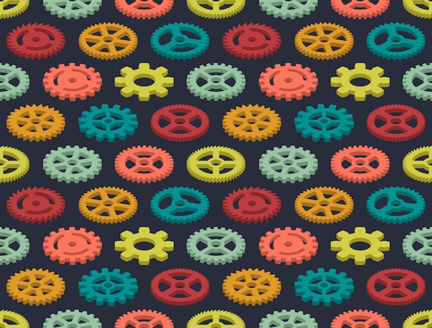 Isometric colored gears seamless pattern