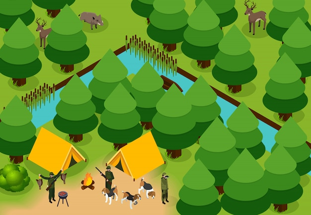Isometric colored hunting composition