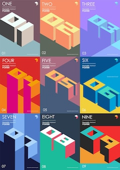 Isometric colored numbers 3d lettering typography logo set
