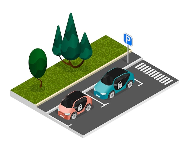 Isometric colored parking composition with two properly parked cars standing on the roadside in a parking lot