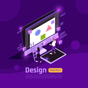 Isometric colored people and interfaces glow with  banner design headline and theme vector illustration