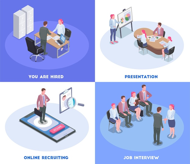 Isometric colored recruiting human resources illustration with candidates having job interview 3d isolated
