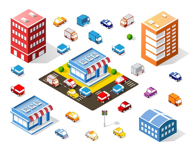Isometric colorful 3d shop