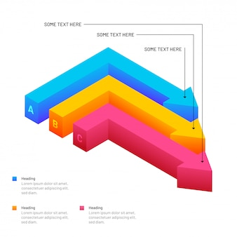 等角投影カラフルな矢印のインフォグラフィック要素
