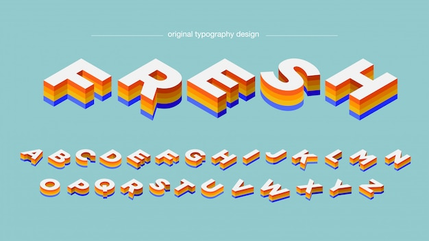 Isometric colorful bold typography